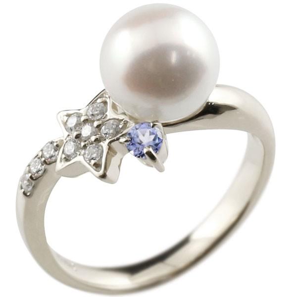 エンゲージリング 婚約指輪 真珠 パール タンザナイト プラチナ900 リング ダイヤモンド ダイヤ 指輪