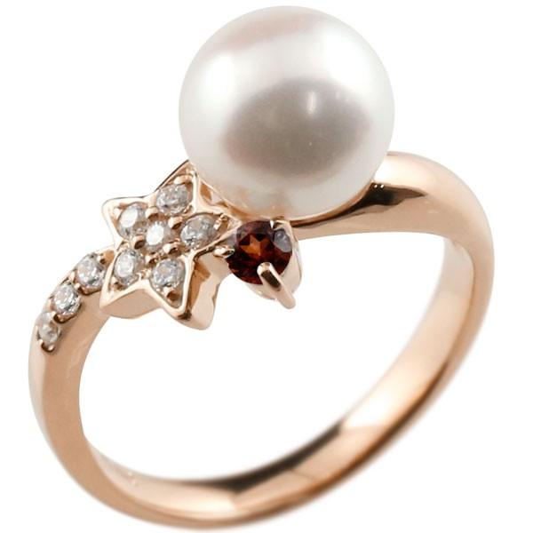 エンゲージリング 婚約指輪 真珠 パール ガーネット ピンクゴールドk10 リング ダイヤモンド ダイヤ 指輪