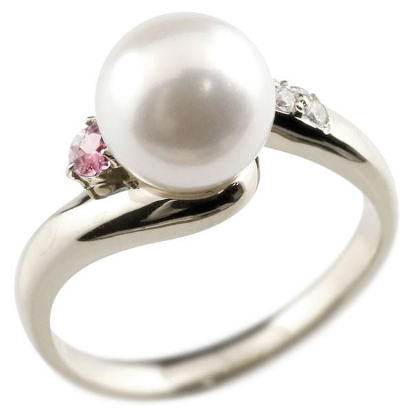 エンゲージリング 婚約指輪 真珠 パール ピンクトルマリン プラチナ900 リング キュービックジルコニア キュービック 指輪