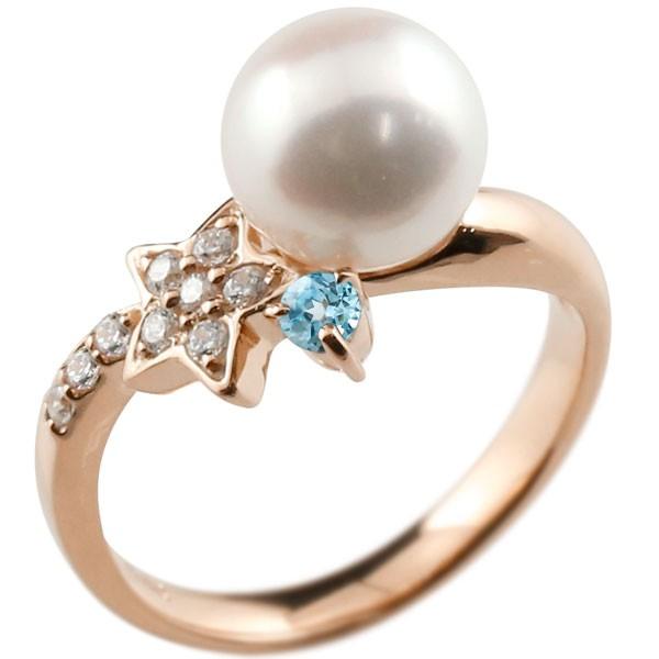 ピンキーリング 真珠 パール ブルートパーズ ピンクゴールドk18 リング ダイヤモンド ダイヤ 指輪
