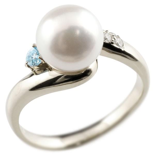 エンゲージリング 婚約指輪 真珠 パール ブルートパーズ プラチナ900 リング ダイヤモンド ダイヤ 指輪
