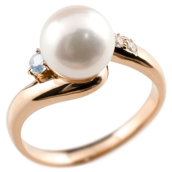 エンゲージリング 婚約指輪 真珠 パール ブルームーンストーン ピンクゴールドk10 リング キュービックジルコニア キュービック 指輪