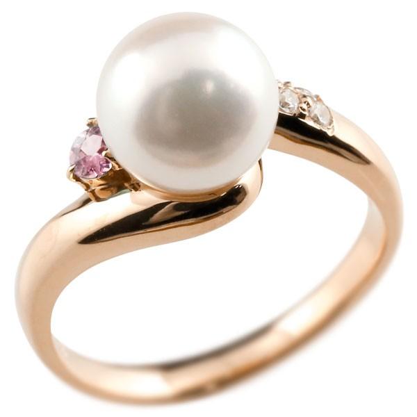 エンゲージリング 婚約指輪 真珠 パール ピンクトルマリン ピンクゴールドk18 リング ダイヤモンド ダイヤ 指輪