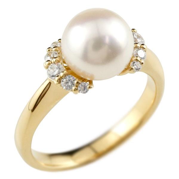 ピンキーリング 真珠 パール イエローゴールドk18 リング  指輪