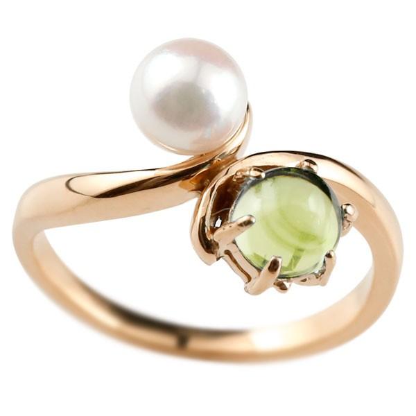 ピンキーリング 真珠 パール ペリドット 8月誕生石 ピンクゴールドk10 リング 指輪