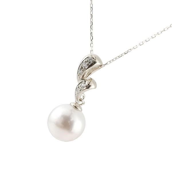 パールペンダント 真珠 ネックレス プラチナ ダイヤモンド ペンダント チェーン 人気 6月誕生石 pt900 レディース