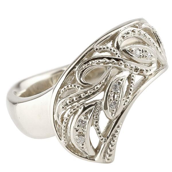 リング ダイヤモンド ホワイトゴールドk18 指輪 透かし 幅広リング アラベスク レディース 18金