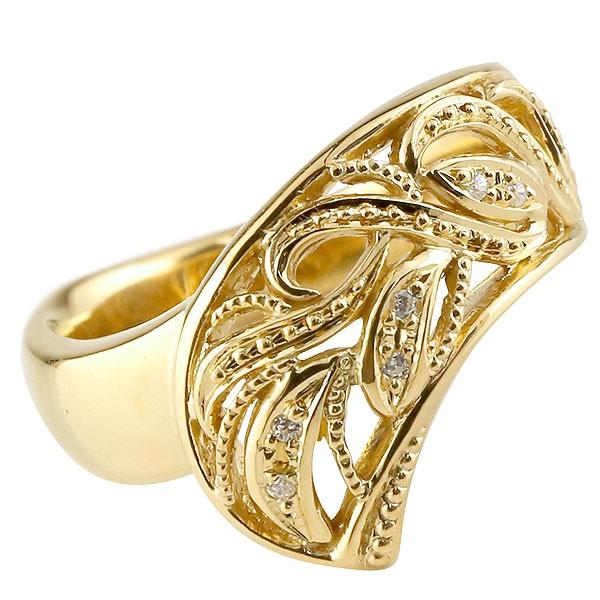 リング ダイヤモンド イエローゴールドk18 指輪 透かし 幅広リング アラベスク レディース 18金