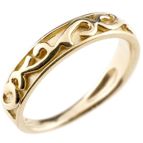 指輪 地金リング イエローゴールドk10 アラベスク ストレート 宝石無し ホーニング つや消し