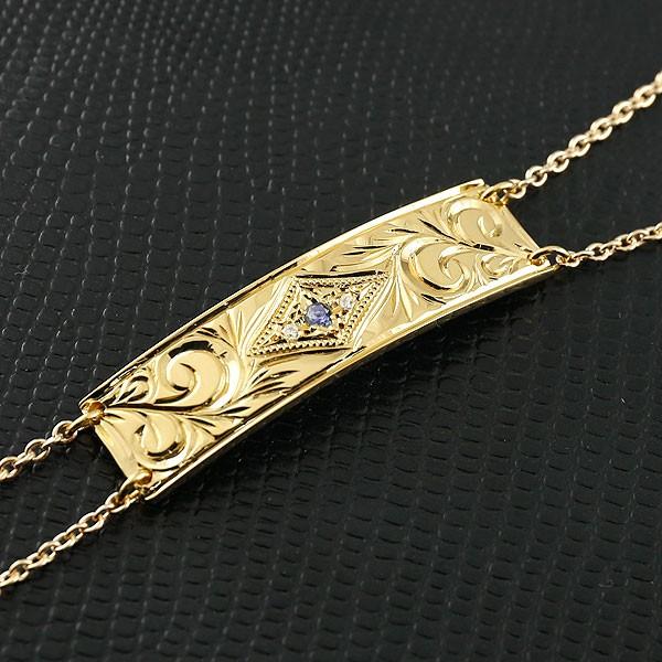 ハワイアンジュエリー ブレスレット プレート アイオライト イエローゴールドk10 ダイヤモンド レディース ミル打ち ダイヤ 10金