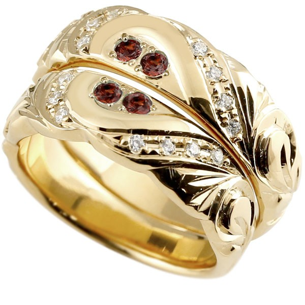 結婚指輪 ペアリング ハワイアンジュエリー ガーネット ダイヤモンド イエローゴールドk10 幅広 指輪 マリッジリング ハート ストレート カップル 10金