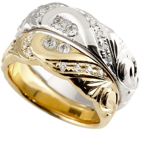 結婚指輪 ペアリング ハワイアンジュエリー ダイヤモンド プラチナ イエローゴールドk10 幅広 指輪 マリッジリング ハート ストレート カップル 10金