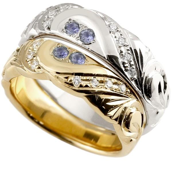 結婚指輪 ペアリング ハワイアンジュエリー アイオライト ダイヤモンド プラチナ イエローゴールドk10 幅広 指輪 マリッジリング ハート ストレート カップル 10金