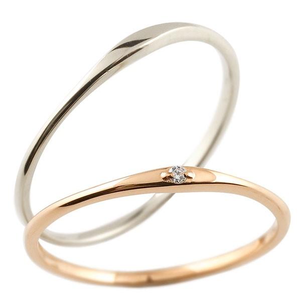 ペアリング 結婚指輪 マリッジリング ダイヤモンド ストレート ダイヤ 極細 華奢 結婚式 ストレート