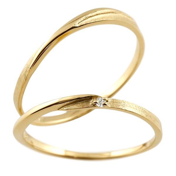 ペアリング 結婚指輪 マリッジリング ダイヤモンド S字 つや消し イエローゴールドk18 ダイヤ 18金 極細 華奢 結婚式 ストレート