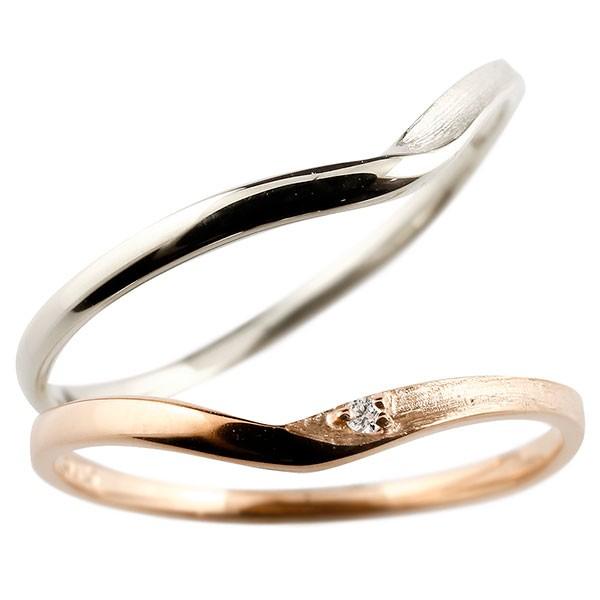 ペアリング 結婚指輪 マリッジリング ダイヤモンド V字 つや消し  ダイヤ 極細 華奢 結婚式 ストレート