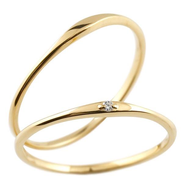 ペアリング 結婚指輪 マリッジリング ダイヤモンド ストレートイエローゴールドk18 ダイヤ 18金 極細 華奢 結婚式 ストレート