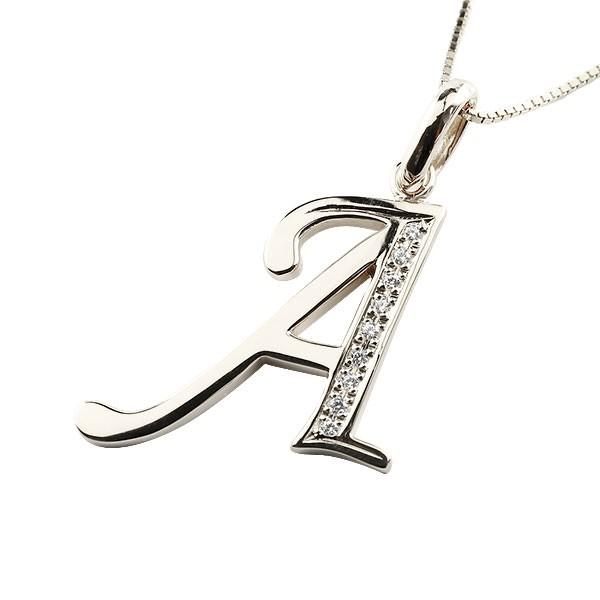 イニシャル A ネックレス プラチナ ペンダント ダイヤモンド アルファベット レディース チェーン 人気