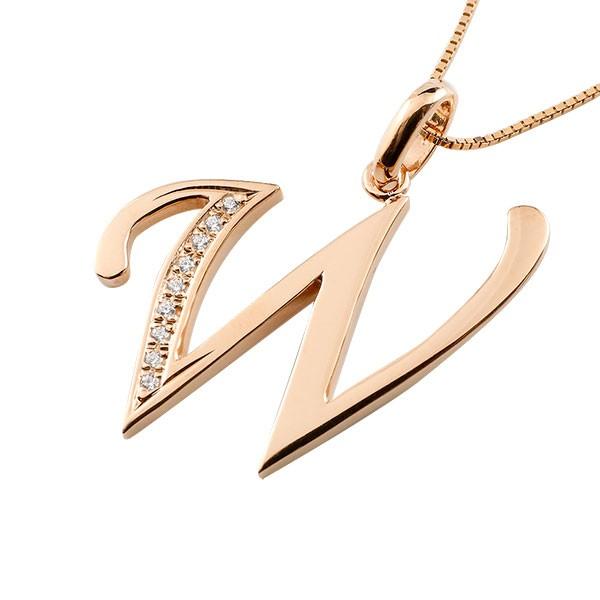 イニシャル W ネックレス ピンクゴールドk10 ペンダント ダイヤモンド アルファベット レディース チェーン 人気