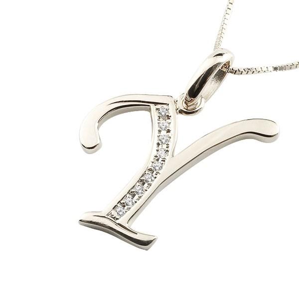 イニシャル Y ネックレス ホワイトゴールドk18 ペンダント ダイヤモンド アルファベット レディース チェーン 人気