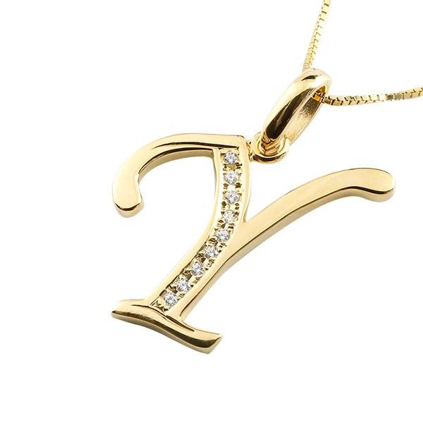 イニシャル Y ネックレス イエローゴールドk10 ペンダント ダイヤモンド アルファベット レディース チェーン 人気