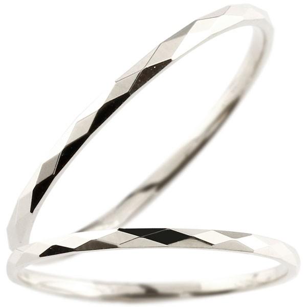指輪 ホワイトゴールドk18 カットリング 地金 ストレート 女性用 18金