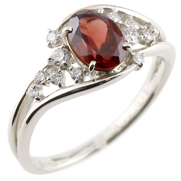 プラチナ 一粒 ガーネット 大粒 指輪 ダイヤモンド 1月誕生石