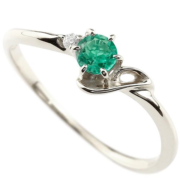 イニシャル J ピンキーリング エメラルド 華奢リング 5月誕生石 プラチナ 指輪 アルファベット ネーム レディース 人気 5月誕生石
