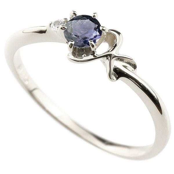 イニシャル K ピンキーリング アイオライト 華奢リング プラチナ 指輪 アルファベット ネーム レディース 人気
