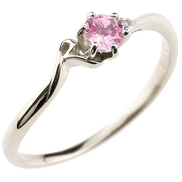 イニシャル R ピンキーリング ピンクサファイア 華奢リング 9月誕生石 プラチナ 指輪 アルファベット ネーム レディース 人気 9月誕生石