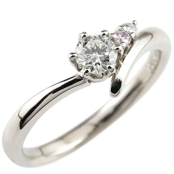 鑑定書付き VVS1クラス プラチナ900 ダイヤモンド 婚約指輪 エンゲージリング リング 一粒 大粒 ダイヤ ストレート ピンクダイヤモンド