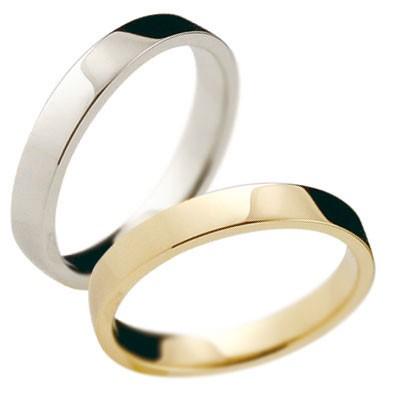 ペアリング イエローゴールド 3ミリ マリッジリング 結婚指輪 平角