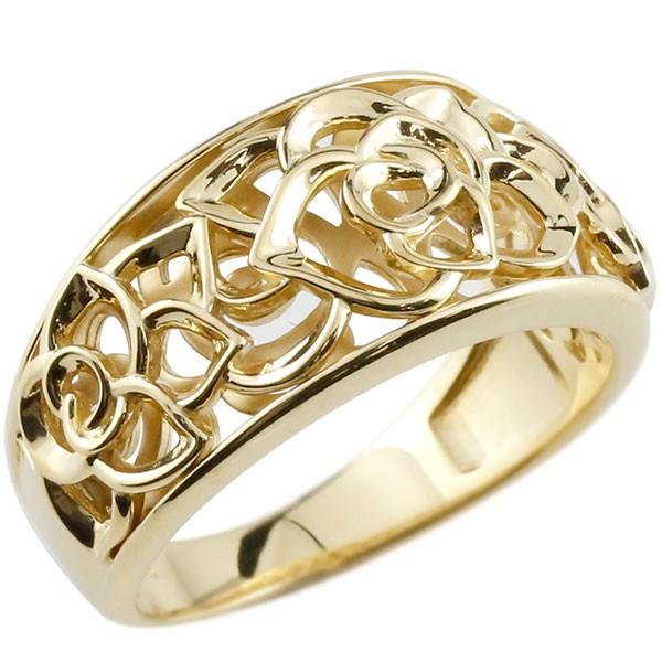エンゲージリング ローズ バラ リング 透かし イエローゴールドk18 ピンキーリング 18金 指輪 指輪