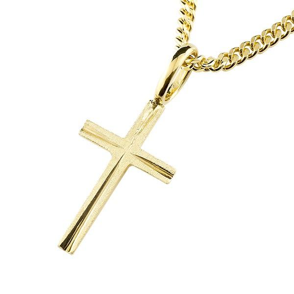 メンズ クロス ネックレス イエローゴールドk18 ペンダント 十字架 地金 シンプル ホーニング加工 チェーン 人気