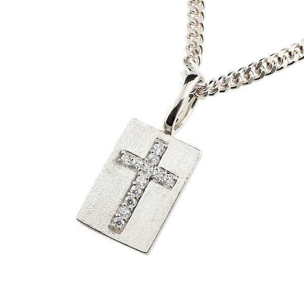 プレート クロス ネックレス キュービックジルコニア ホワイトゴールドk10 ペンダント 十字架 チェーン 人気