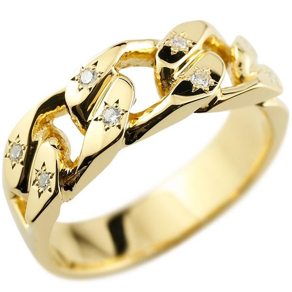 メンズ 喜平リング ダイヤモンド イエローゴールドK18 リング 指輪 婚約指輪 18金 キヘイ 鎖 ダイヤ 男性用 コントラッド 東京
