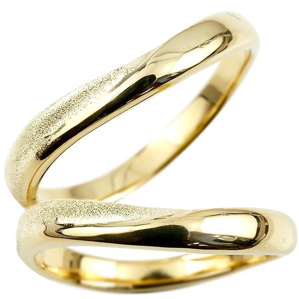 ペアリング 結婚指輪 イエローゴールドk10 マリッジリング 結婚式  槌目 槌打ち ロック仕上げ k10 10金 地金 緩やかなV字