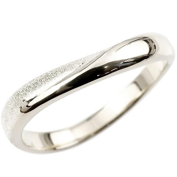 指輪 リング シルバー 婚約指輪 ピンキーリング sv925  スターダスト仕上げ 地金 緩やかなV字