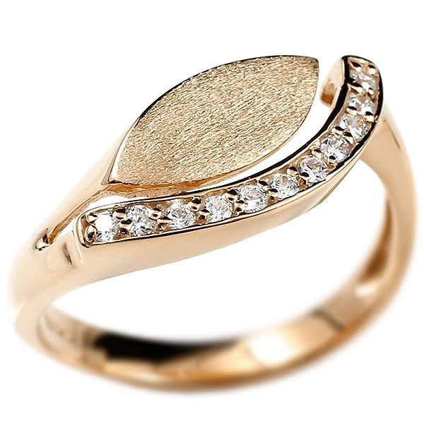 婚約指輪 ピンクゴールドk10 エンゲージリング ピンキーリング キュービックジルコニア リング 指輪 ウェーブリング 10金 10k レディース 緩やかなV字