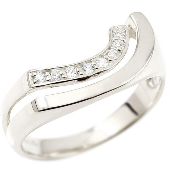 婚約指輪 ホワイトゴールドk18 エンゲージリング ピンキーリング キュービックジルコニア リング 指輪 ウェーブリング 18金 18k レディース 緩やかなV字