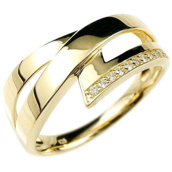 リング イエローゴールドk18 ダイヤモンド 婚約指輪 ピンキーリング ダイヤ エンゲージリング