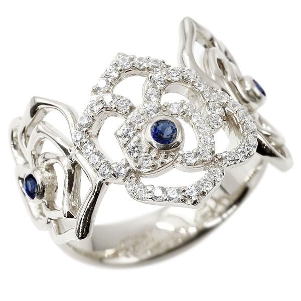 リング バラ キュービックジルコニア サファイア ホワイトゴールドk18 婚約指輪 ピンキーリング 指輪 幅広 エンゲージリング 薔薇 ローズ 宝石