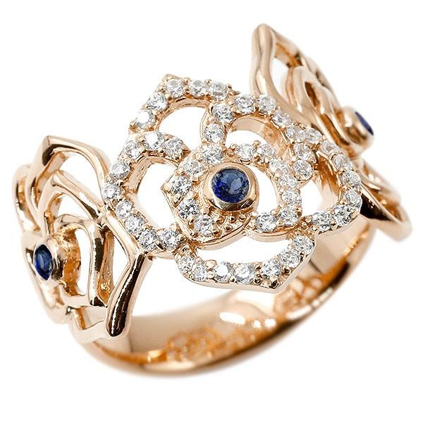 リング バラ キュービックジルコニア サファイア ピンクゴールドk18 婚約指輪 ピンキーリング 指輪 幅広 エンゲージリング 薔薇 ローズ 宝石