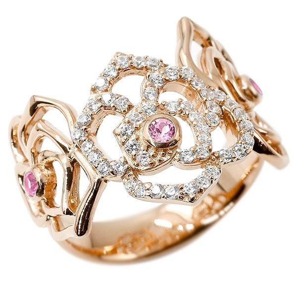 リング バラ ダイヤモンド サファイア ピンクゴールドk10 婚約指輪 ピンキーリング ダイヤ 指輪 幅広 エンゲージリング 薔薇 ローズ 宝石
