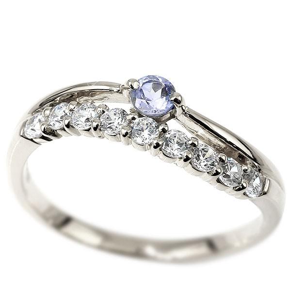 プラチナリング タンザナイト 指輪 ピンキーリング
