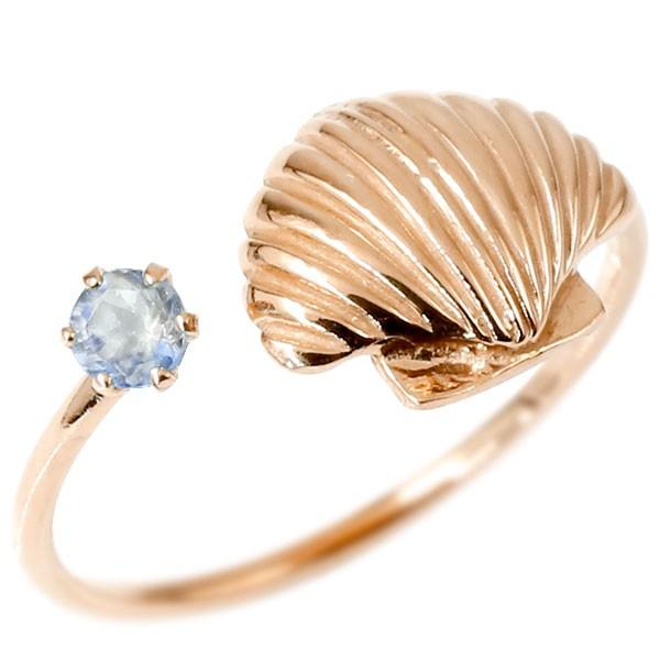 ファランジリング 貝 ピンクゴールドk10 フリーサイズ ミディリング 関節リング 指輪 10金 レディース ピンキーリング 誕生石 マリンジュエリー