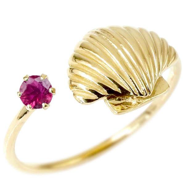トゥリング 貝 イエローゴールドk10 フリーサイズ 足の指輪 指輪 10金 レディース ピンキーリング 誕生石 マリンジュエリー