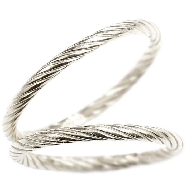 ペアリング ホワイトゴールドk18 指輪 エンドレスロープ 18金 ストレート 地金 結婚指輪 マリッジリング 重ね付け リング カップル
