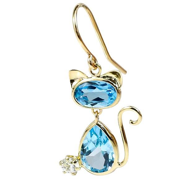 片耳ピアス ゆれる 猫 イエローゴールドk18  ブルートパーズ フックピアス シンプル 宝石 揺れる レディース ねこ ネコ 人気 18金 宝石