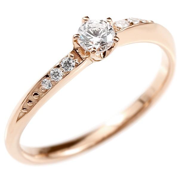 婚約指輪 リング ダイヤモンド ピンクゴールドk10 エンゲージリング ダイヤ 一粒 大粒 指輪 ピンキーリング 宝石 レディース